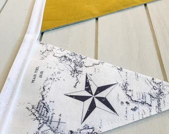 Fabric Bunting Banner - Navy and Yellow