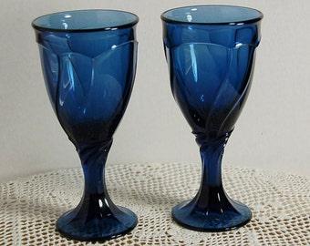 Noritake Cobalt Goblets Swirl Set of 2