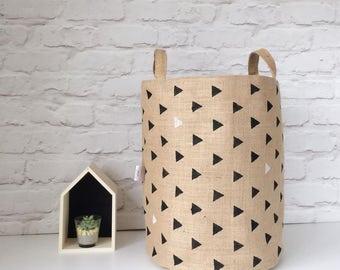 Storage Basket. Geometric Print Nursery Basket. Storage Bin. Extra Large Toy  Storage.