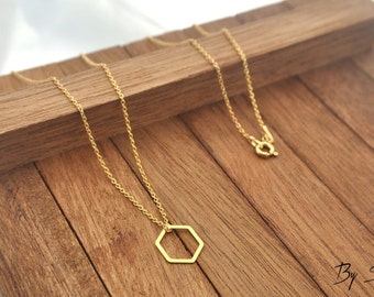 Sterling Silver hexagon gold plated Necklace, hexagon Pendant, hexagon Necklace, hexagon Chain, Silver hexagon,