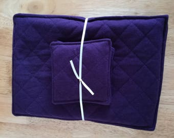 Set of four soft quilted place mats with matching coasters, available in purple
