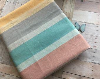 Fun Pastel Stripe Fabric - Nice Colors - Beachy - Wamsutta - Over 1 Yard