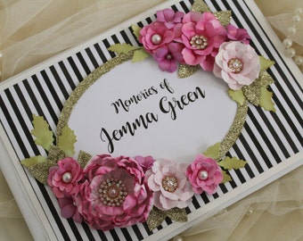 black and white striped and pink guest book / memory book - Personalised guest book / gift - any words possible . hot pink wedding