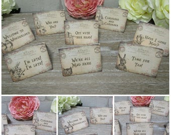 8 Alice in Wonderland Mini Postcard Style Quote Table Tent Cards Decoration,Wedding,Party,