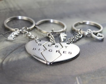 Sisters Keyring Best Bitches Jewelry, Best bitches Keychain,Friendship gift, Initial Keychain