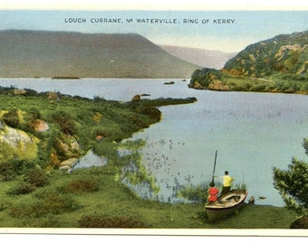 Lough Currane, Ring of Kerry,  Ireland , Superb Vintage 1940s Unused Color Postcard. E.T.W. Dennis & Sons, Ltd