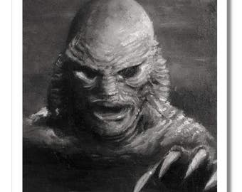 GILL MAN 5x7 art print horror Creature from the Black Lagoon