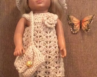 18 inch doll crocheted dress, hat and purse gold button