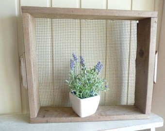 Vintage wooden crate sieve stackable crate garden caddy rustic farmhouse caddies vintage decor Hygge decor