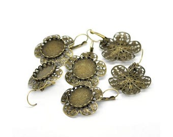 10 sleepers Bronze flowers set Cabochon 20mm