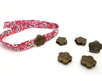 10 passers-by flowers handmade bronze for cord 10mm