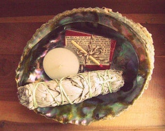 "White Sage Kit // Sage Cleansing Kit // Matchbox+Tealight // 4"" Tripod //4-5"" Sage Bundle //5"" Abalone Shell // Great Gift //"