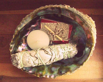 "White Sage Kit // Sage Smudge Kit // Matchbox+Tealight // 4"" Tripod // 5"" Sage Bundle //5"" Abalone Shell // Great Gift"