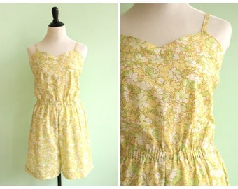 Vintage 1970's Yellow Floral Romper | Size Small