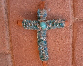 SEDONA Wood Wall Cross Wire Wrapped with Beads