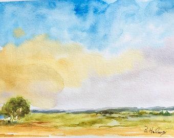 "Watercolour Art Painting ""British Landscape I"""