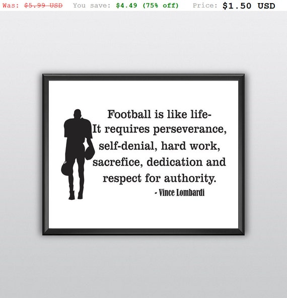 75% off Football Is Like Life Wall Art Home Decor Boys Room Sports Decor Lettering Words Print (T219)