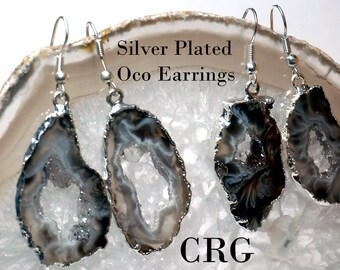 Silver Plated Geode Slice Earrings (ER23BT)