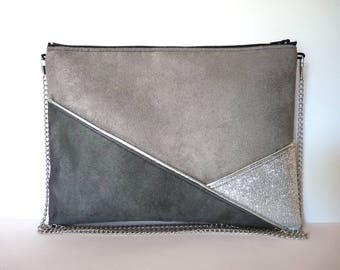 Pouch, shoulder bag grey and silver