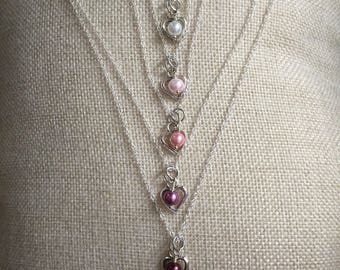 Bridesmaid necklaces, wedding jewelry, maid of honor, wedding attire, custom colors available