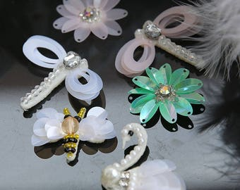 green pink white 15pcs dragonfly bees swan sequins beads Rhinestones brooch appliques patches M52S2  free ship