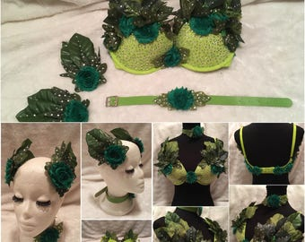 Green Flower Leaf Poison Ivy Fairy Nymph Crystal Bra Headpiece and Necklace Set. Burlesque Cosplay Cabaret Rave Costume