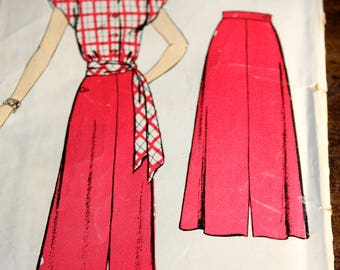 Vintage 1950's Skirt, Blouse, and Sash Pattern----New York Pattern 416---Size 12 Bust 32  UNCUT