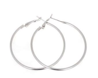 Large gold hoop earrings solid 18k real white gold