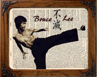 Bruce Lee art, Bruce lee print, Bruce Lee poster, Bruce lee gift, Bruce Lee decor, Bruce Lee, Bruce Lee dictionary print, wall decor, art