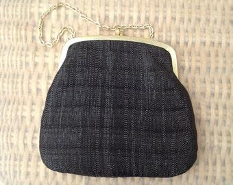 Vintage 1960s Black Lurex Evening Bag