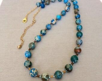 Blue Jasper Necklace Beaded Jasper Necklace Imperial Jasper Necklace Blue Stone Blue Gemstone Boho Statement Necklace Birthday Gift Her Wife