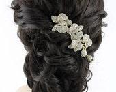 Gold Bridal Comb, Beach Destination Wedding Hair Accessory, Rhinestone Gold Orchid Hair Comb, Gold Bridal Hair Piece, Gold Bridal Headpiece