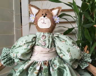 Fabric Cat , Primitive Spring Cat Doll ,  Folk Art ,  Handmade Room Decor , Shelf-Sitting Cat