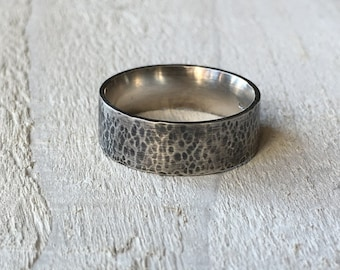 Men's silver ring, Rugged sterling silver mans ring, Oxidised silver men's wedding band, Rustic chunky textured mans silver wedding band