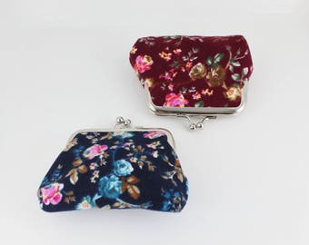 Floral coin purse kiss lock snap top coin wallet pouch change purse Burgundy Navy Blue flower pattern