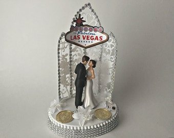 vegas themed wedding cake toppers unique vegas cake topper related items etsy 21574