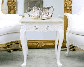 Shabby Cottage Chic Marble Side Table French Style Vintage End Table White  #9945