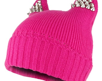 Pussyhat Women's Spiked Stud Cat Ear Beanie Hat (30205)