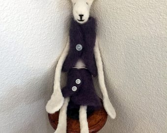 Hand Made Needle Felted Rabbit Doll - Evelyn