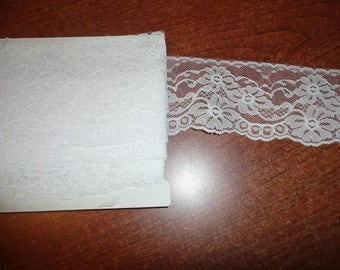 "10 Yards White Color 3"" Flat Lace Trim"