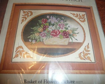 Something Special Counted Cross Stitch Kit Basket Of Flowers Shipping Included