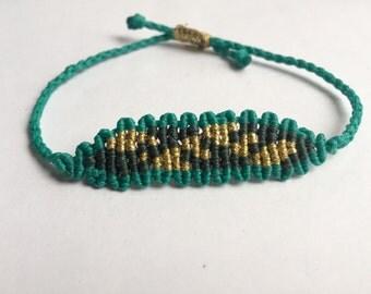 Macrame bracelet teal & green