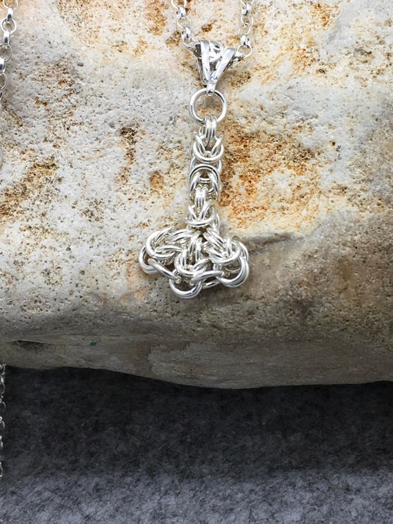 Handcrafted Sterling Silver Chainmaille Thors Hammer Pendant Necklace.
