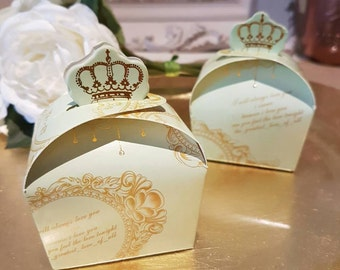 10x Green Crown Wedding Favor Paper Gift Boxes