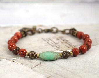 Red jasper bracelet. Turquoise and red bracelet. Rustic bracelet. Clasp bracelet. Cowgirl jewelry. Boho chic jewelry. Western jewelry.