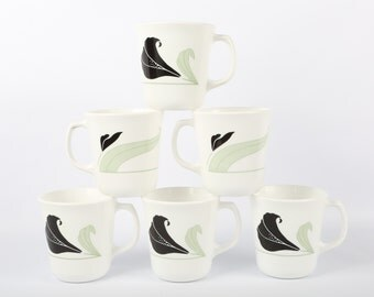 "1970's-1980's (6) Corning Mugs, ""Black Orchid"", Black, White, and Green, Near MINT Condition, 3-1/2"" H X 3-1/4"" Diameter."