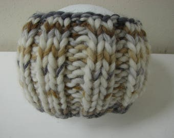 Chunky knit ear warmer brown gray beige kids head warmer size 2 - 5 yrs warm comfortable knit in the round no seams, thick yarn head band