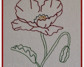 Linework Poppy Machine Embroidery Design Pattern Two Sizes 4x4 and 5x7 Included by Titania Creations. Instant Download.