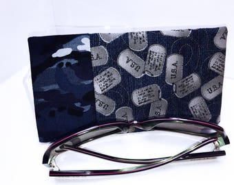 USA Military Minimalist Glasses Case, Metallic Sunglasses Pouch, Cute Glasses Case, Eyeglasses Case, Soft Glasses Case