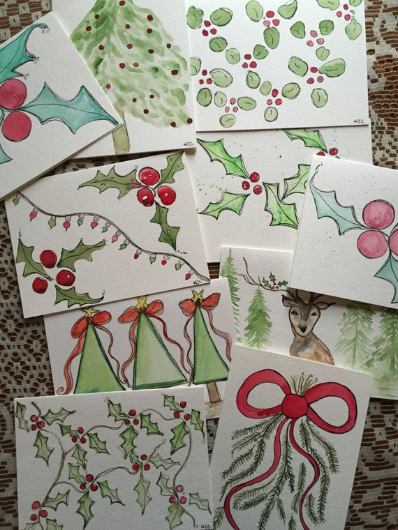 SALE 10 Hand Painted , Original Christmas Cards, Watercolor and Ink Christmas Cards